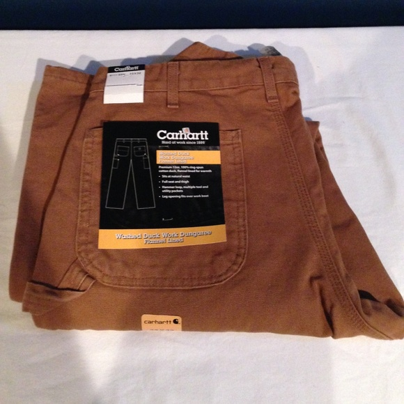 c5d6c25554 Carhartt Jeans | Washed Duck Work Dungaree Flannel Lined | Poshmark
